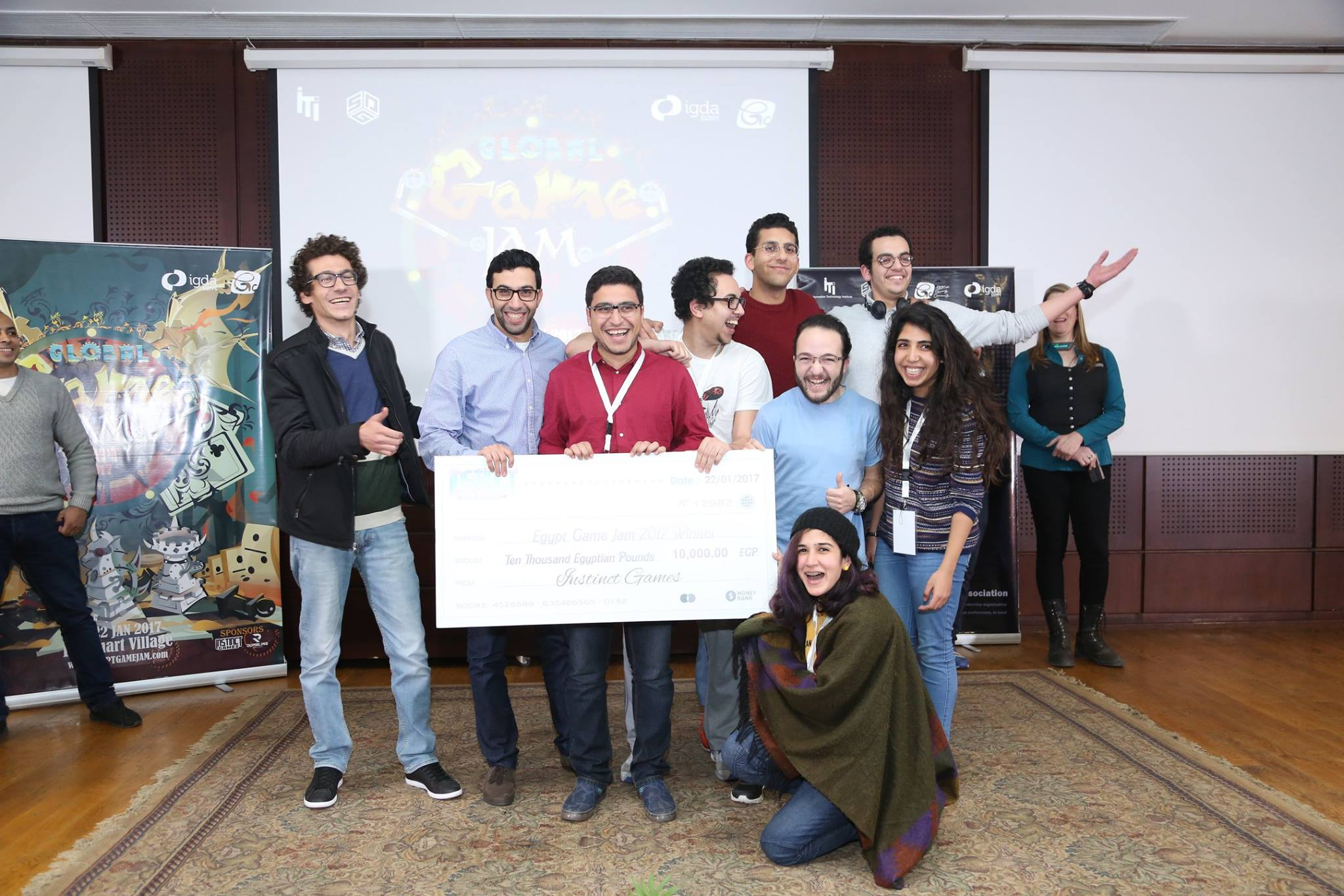 Null Team winning the 2017 Global Game Jam award